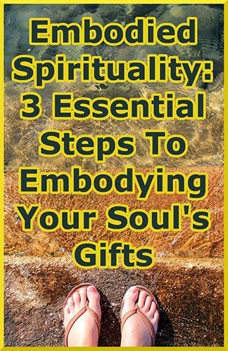 person taking 3 steps into ocean representing path to embodied spirituality