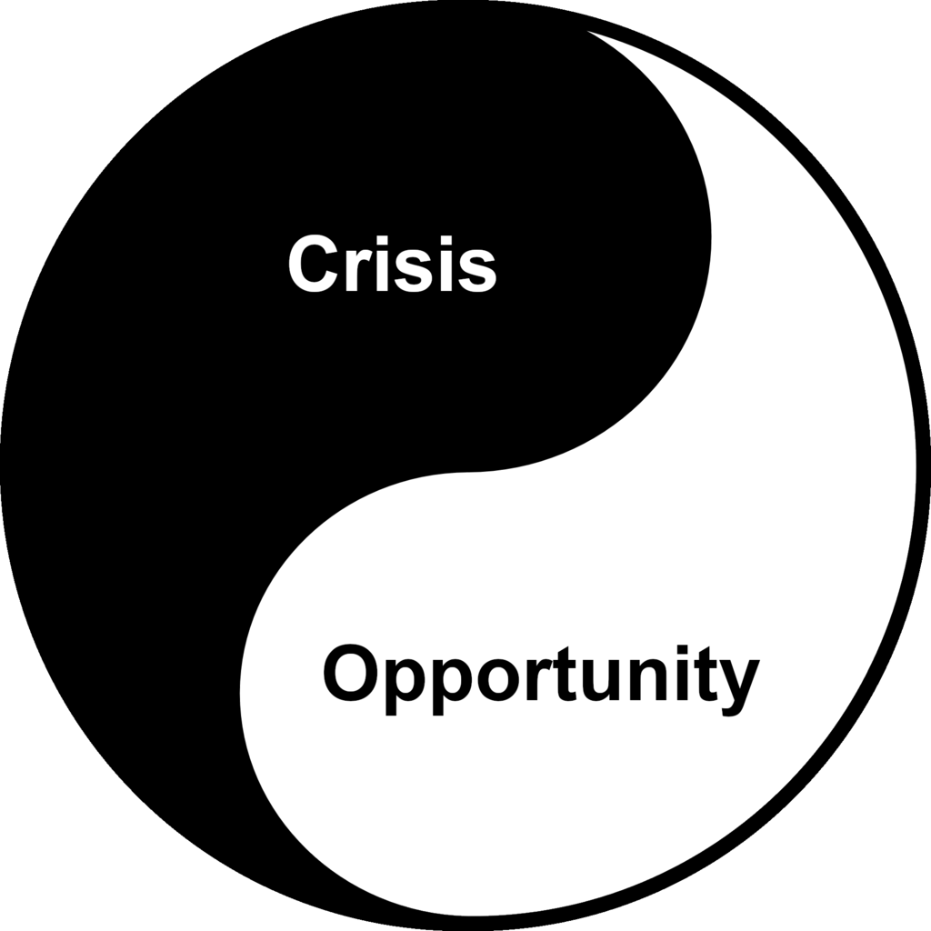 yin yang symbol with crisis on one side and opportunity on the other every crisis is an opportunity
